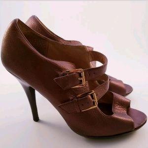 Michael Kors Leather High Heel Peep Toe Pumps